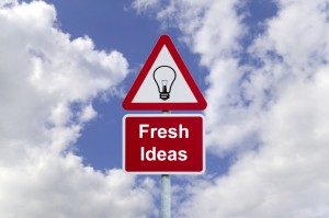 Fresh ideas signpost in the sky